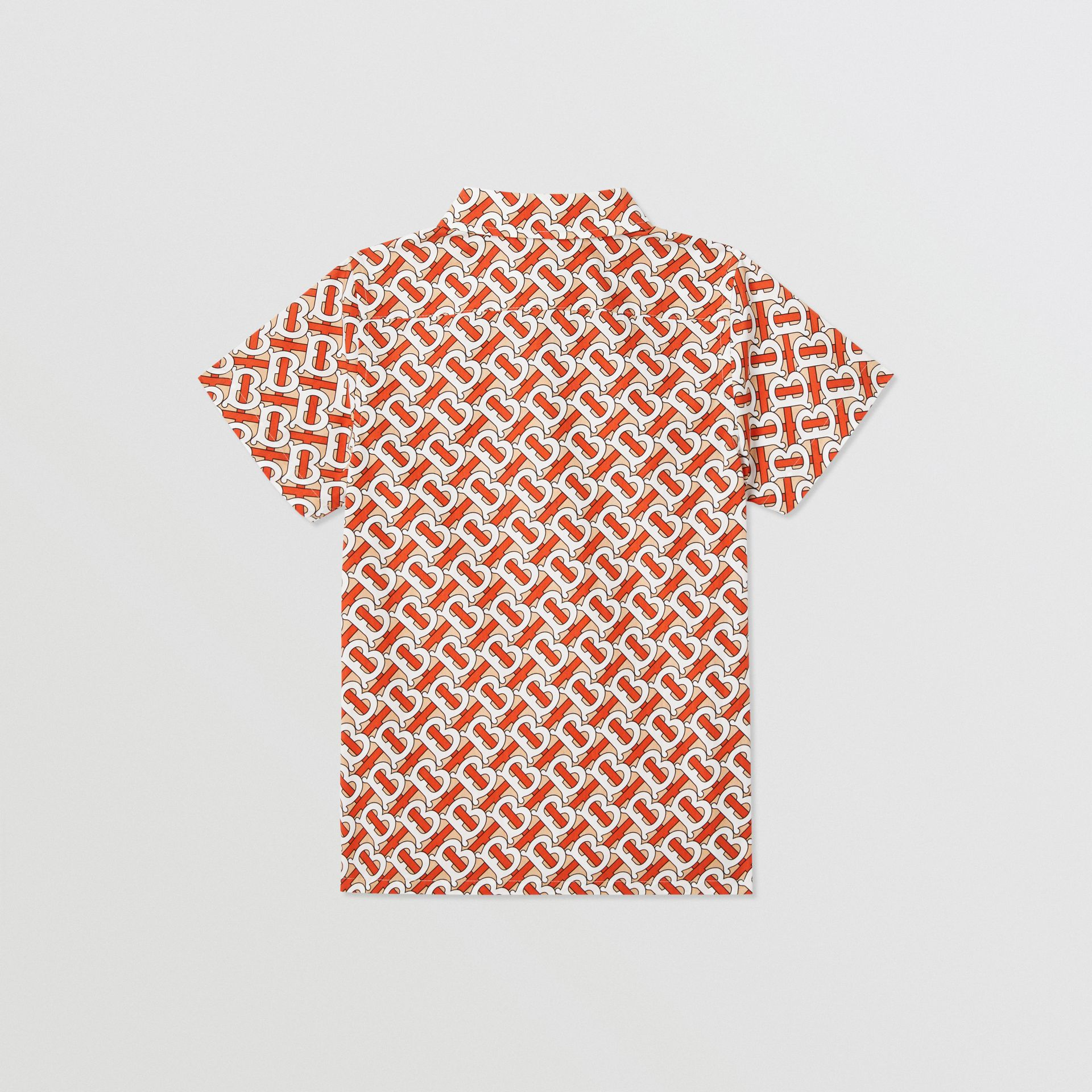 Short-sleeve Monogram Print Cotton Poplin Shirt in Vermilion Red | Burberry - gallery image 3