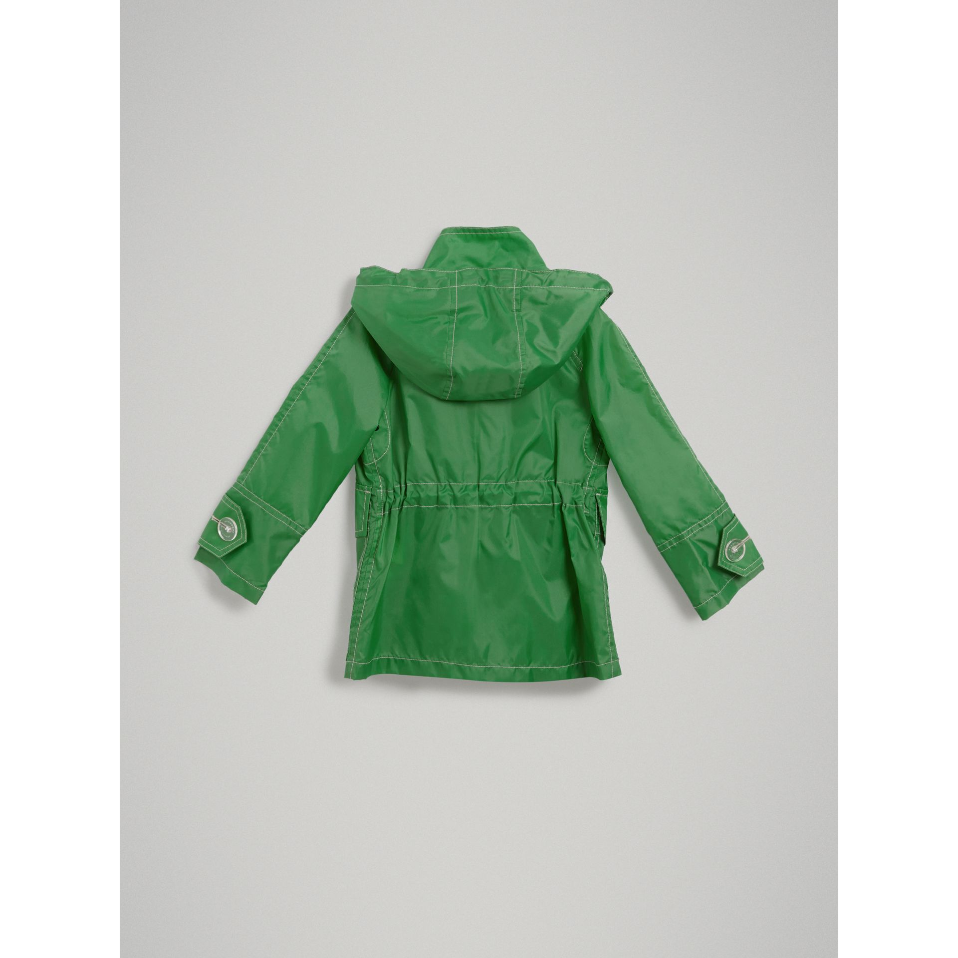 Tape Detail Rain Jacket in Bright Pigment Green - Girl | Burberry Australia - gallery image 3