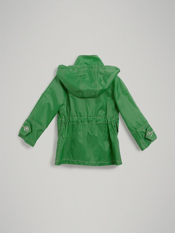 Tape Detail Rain Jacket in Bright Pigment Green - Girl | Burberry - cell image 3