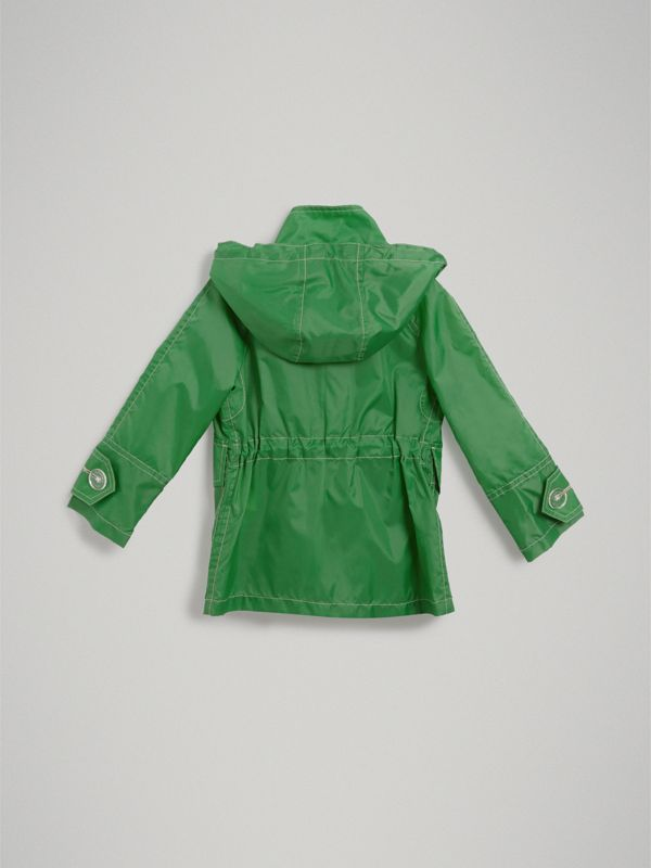 Tape Detail Rain Jacket in Bright Pigment Green | Burberry - cell image 3