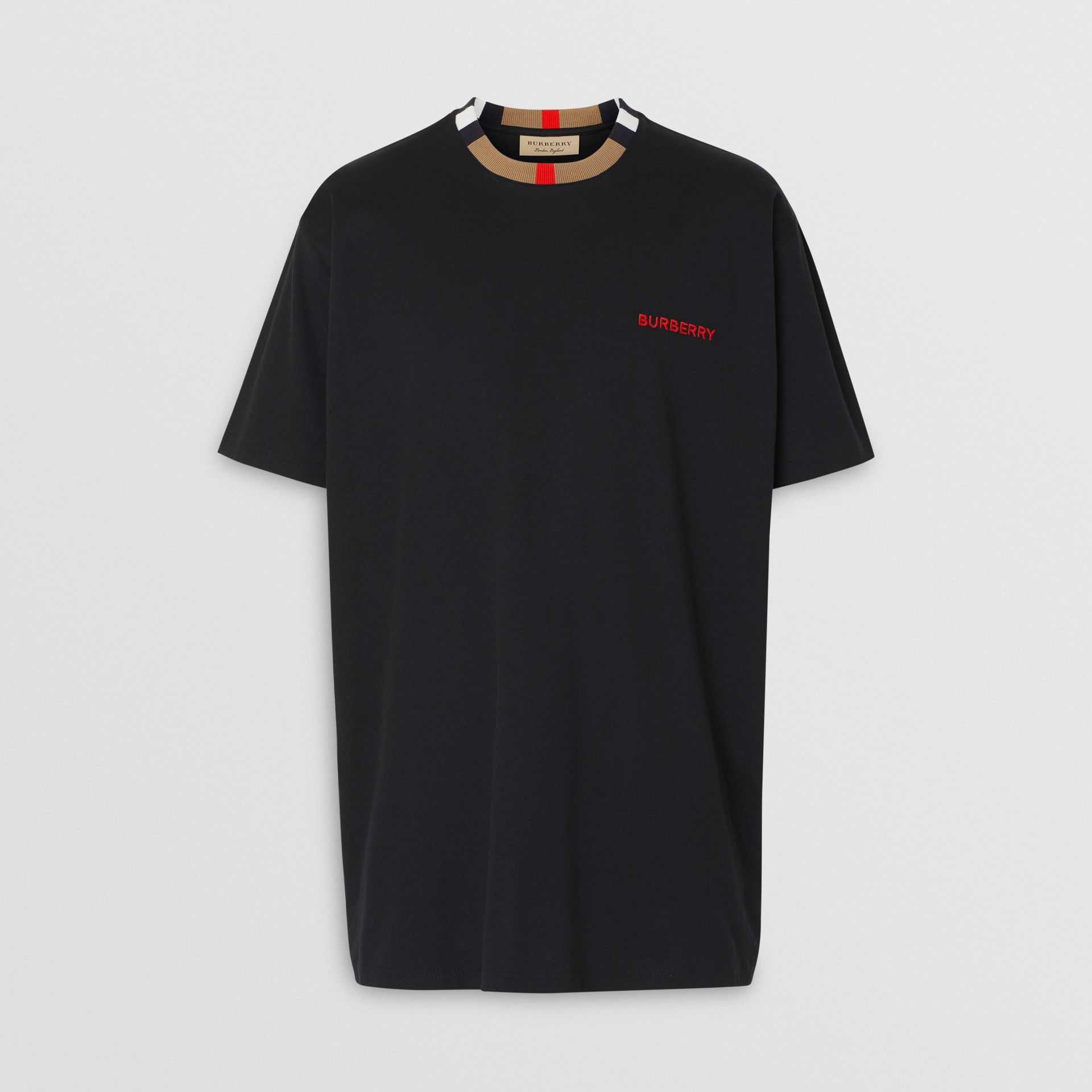 Icon Stripe Detail Cotton T-shirt in Black - Men | Burberry United States - gallery image 3
