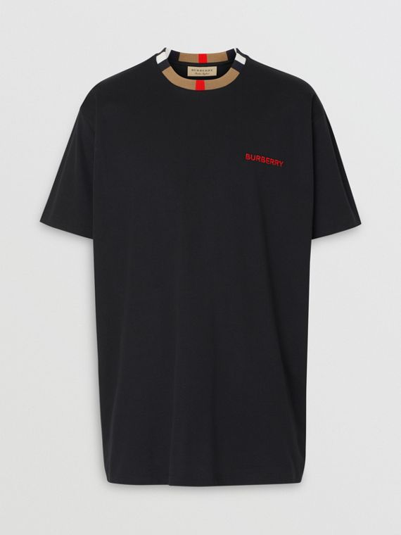 Icon Stripe Detail Cotton T-shirt in Black