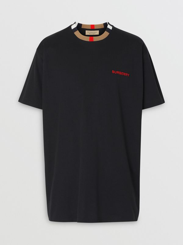 Icon Stripe Detail Cotton T-shirt in Black - Men | Burberry - cell image 3
