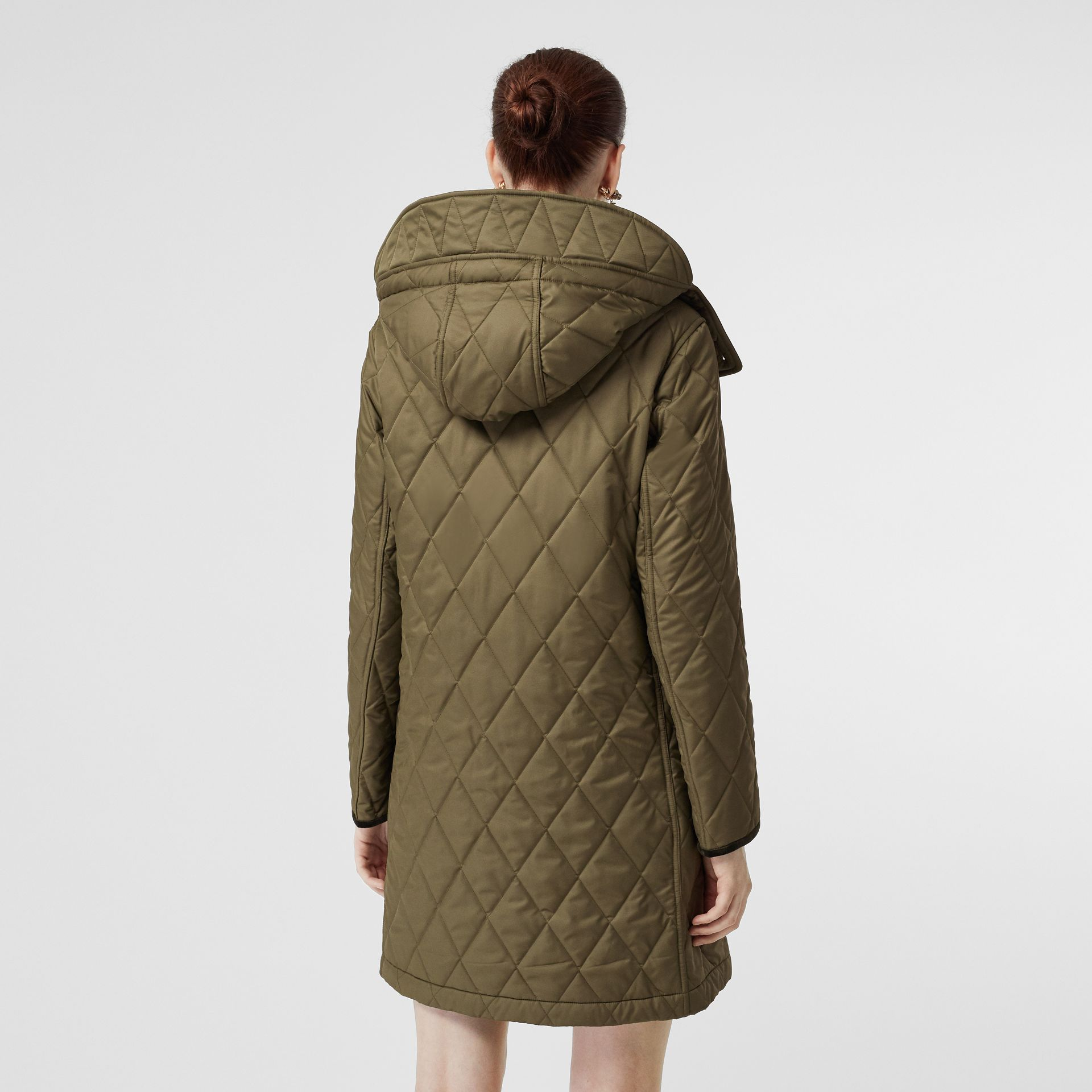 Detachable Hood Monogram Motif Quilted Coat in Olive Green - Women | Burberry - gallery image 2