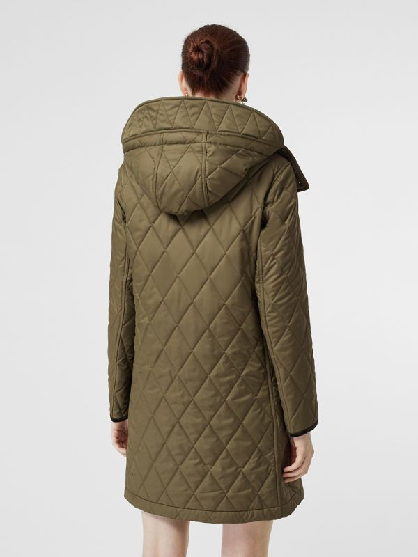 Detachable Hood Monogram Motif Quilted Coat in Olive Green - Women | Burberry - cell image 2
