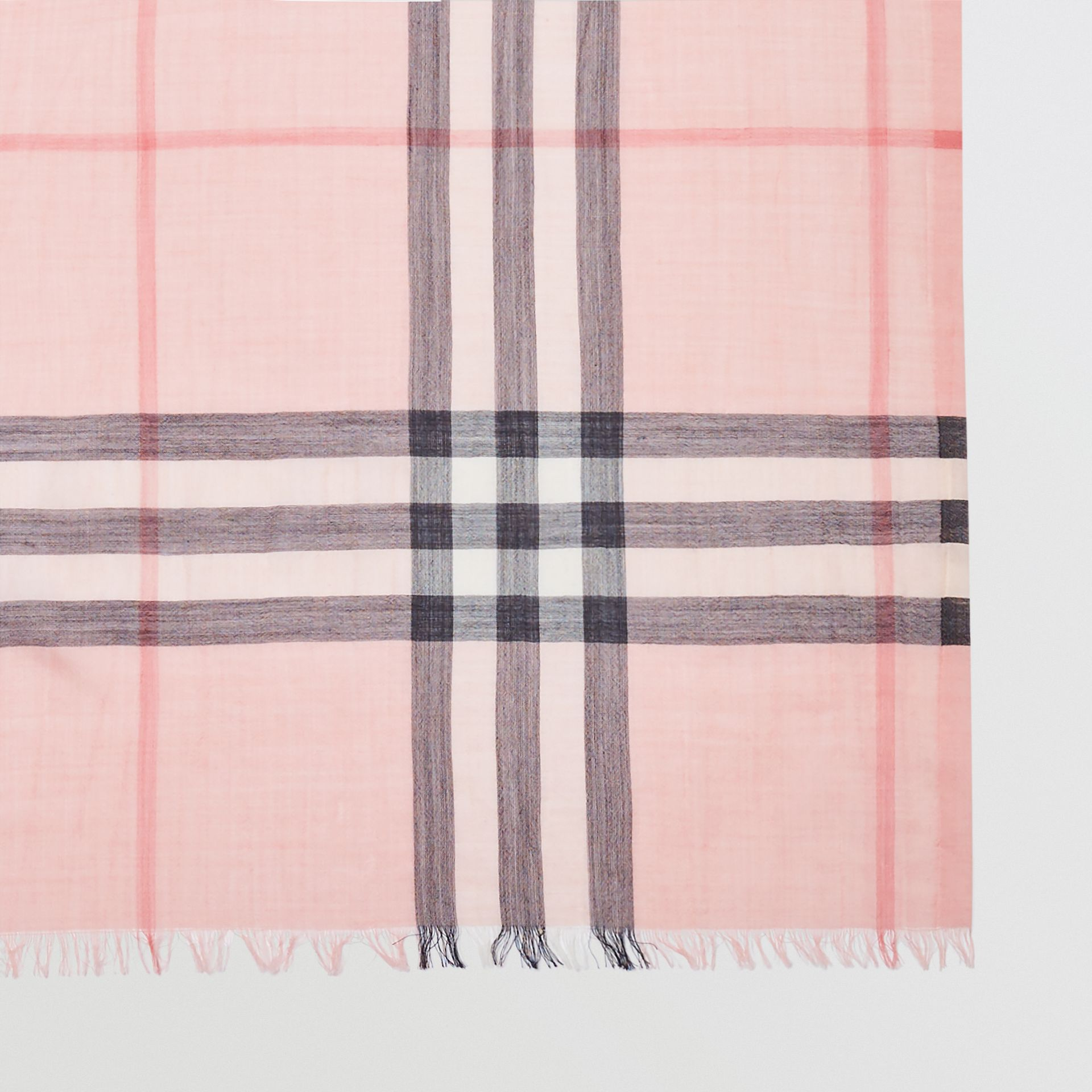 Lightweight Check Wool and Silk Scarf in Ash Rose | Burberry Australia - gallery image 1