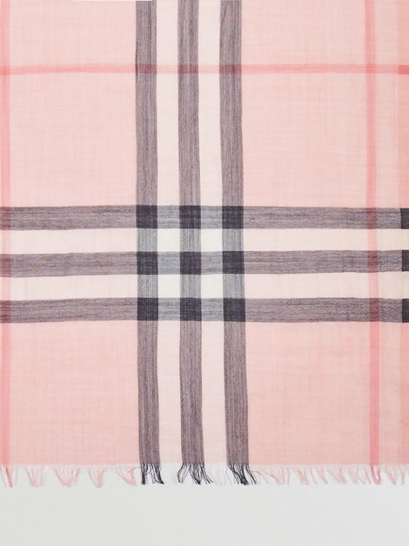 Lightweight Check Wool and Silk Scarf in Ash Rose | Burberry Singapore - cell image 1
