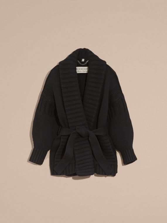 Black Knitted Wool Cashmere Belted Cardigan Jacket Black - cell image 3