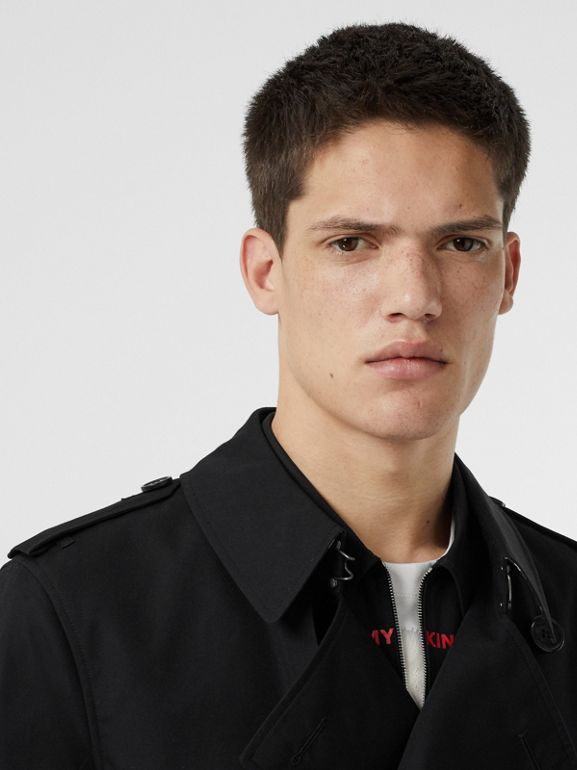Cotton Gabardine Trench Coat in Black - Men | Burberry United Kingdom - cell image 1
