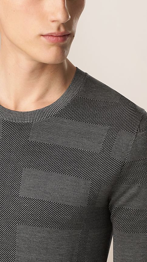 Grey stone Check Crew Neck Silk Sweater - Image 3