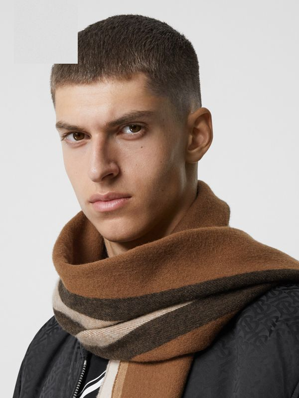 Reversible Icon Stripe Cashmere Scarf in Dark Chestnut Brown | Burberry United States - cell image 3