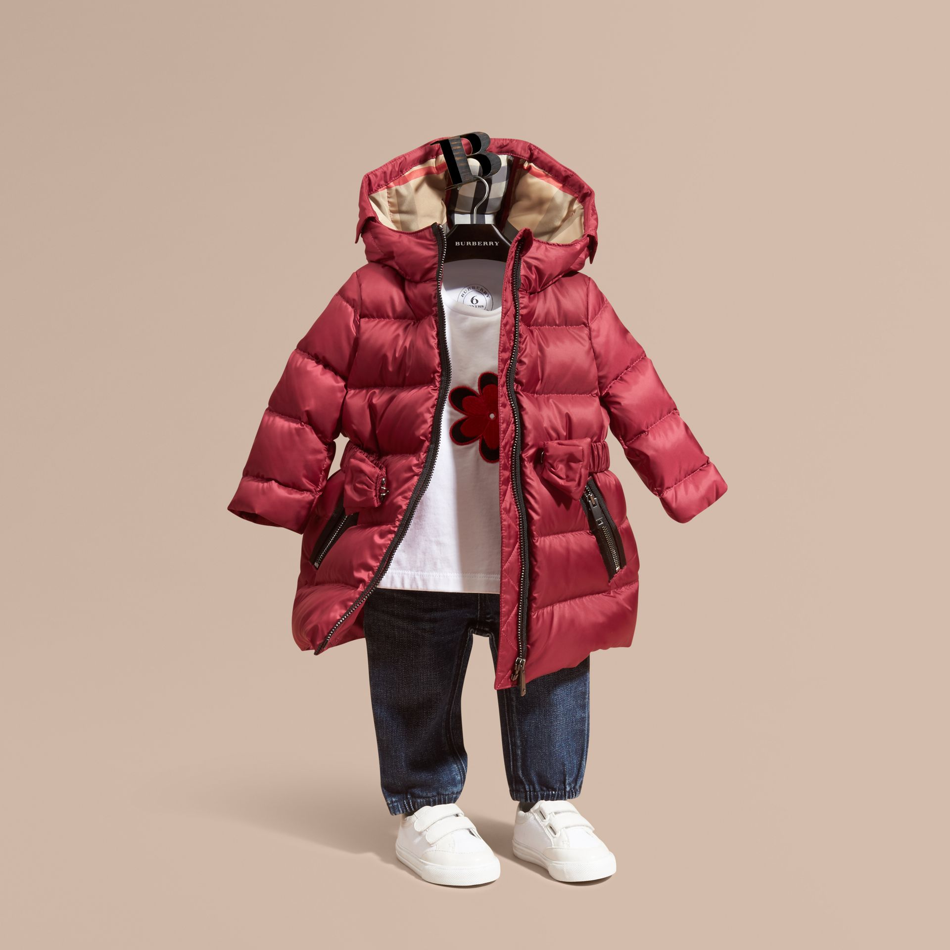 Dark plum pink Down-filled Hooded Coat with Bow Detail Dark Plum Pink - gallery image 1