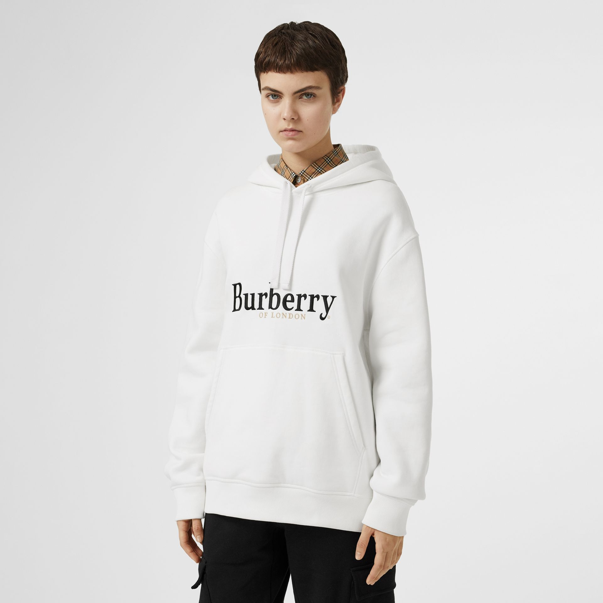 Embroidered Logo Jersey Hoodie in White - Women | Burberry - gallery image 4