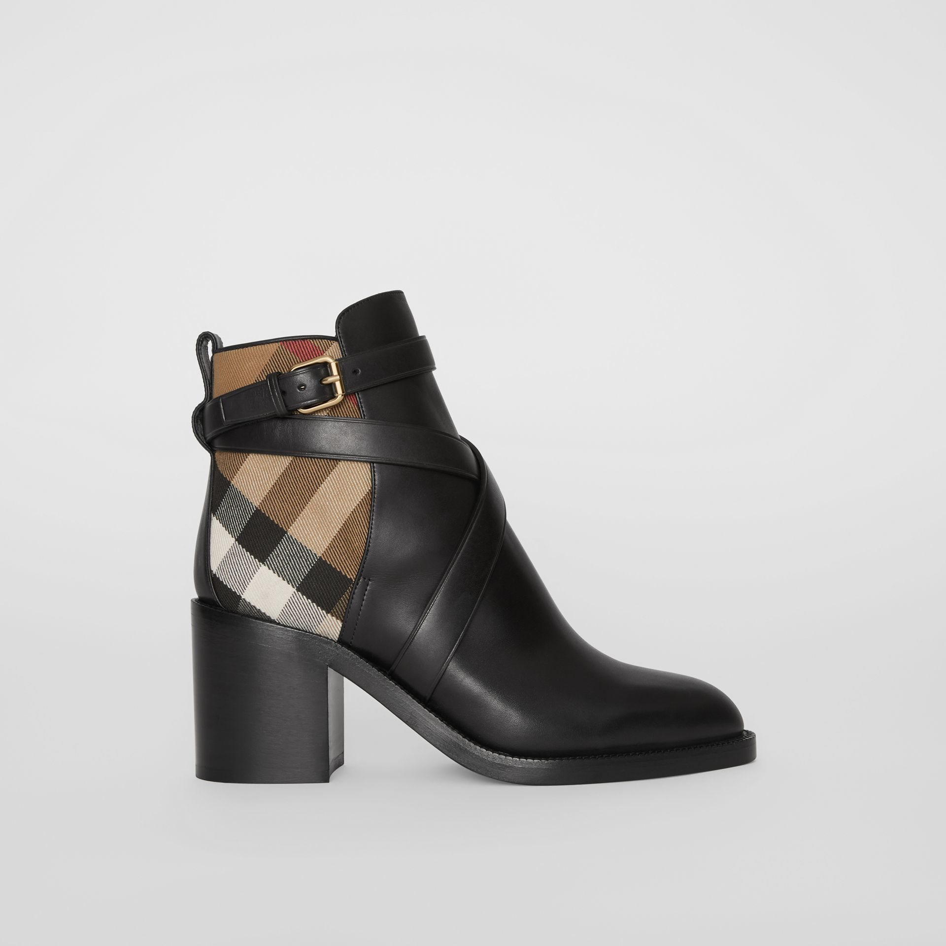 Bottines en cuir et coton House check (Noir) - Femme | Burberry - photo de la galerie 4