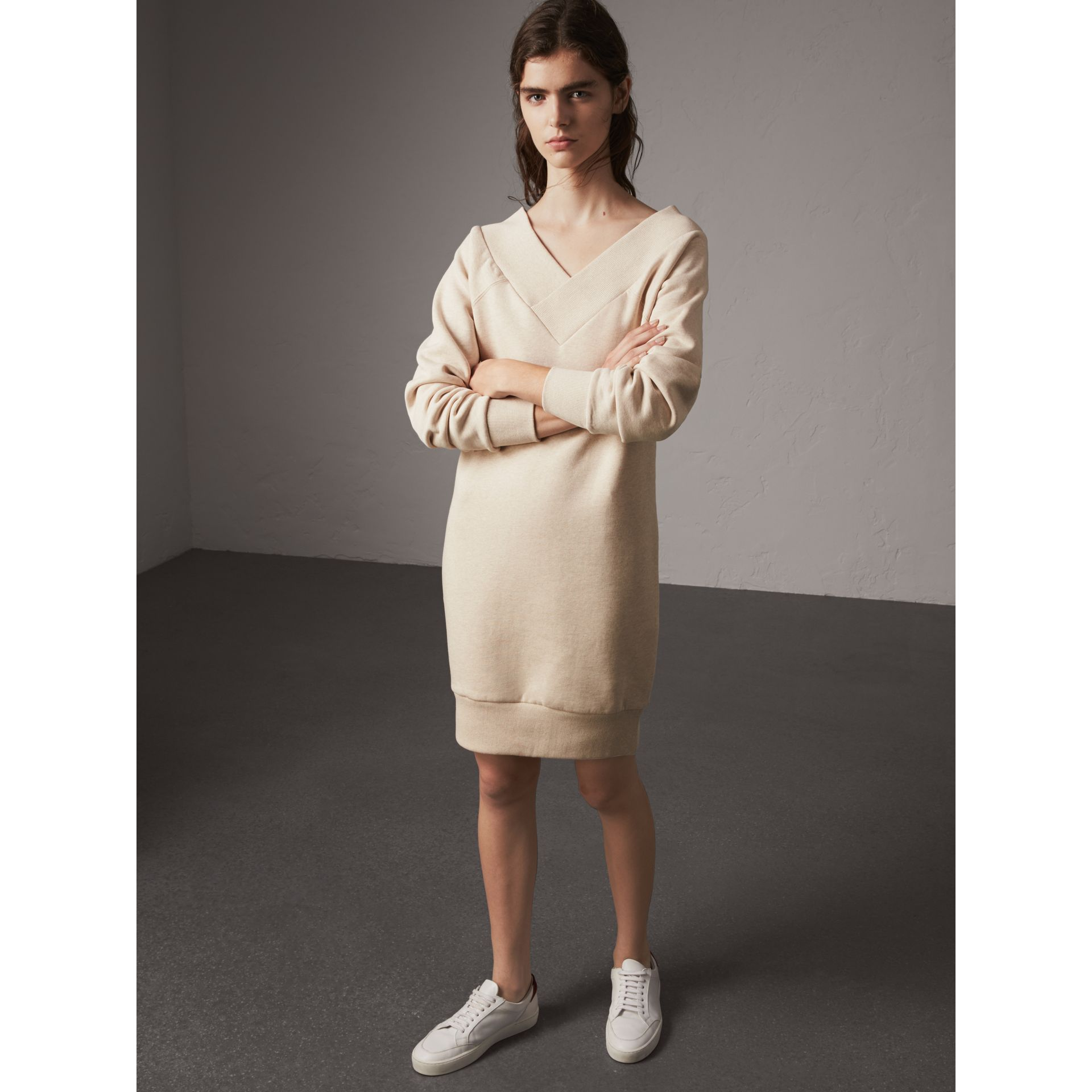 Cotton Blend V-neck Sweater Dress in Oatmeal Melange - Women | Burberry - gallery image 1