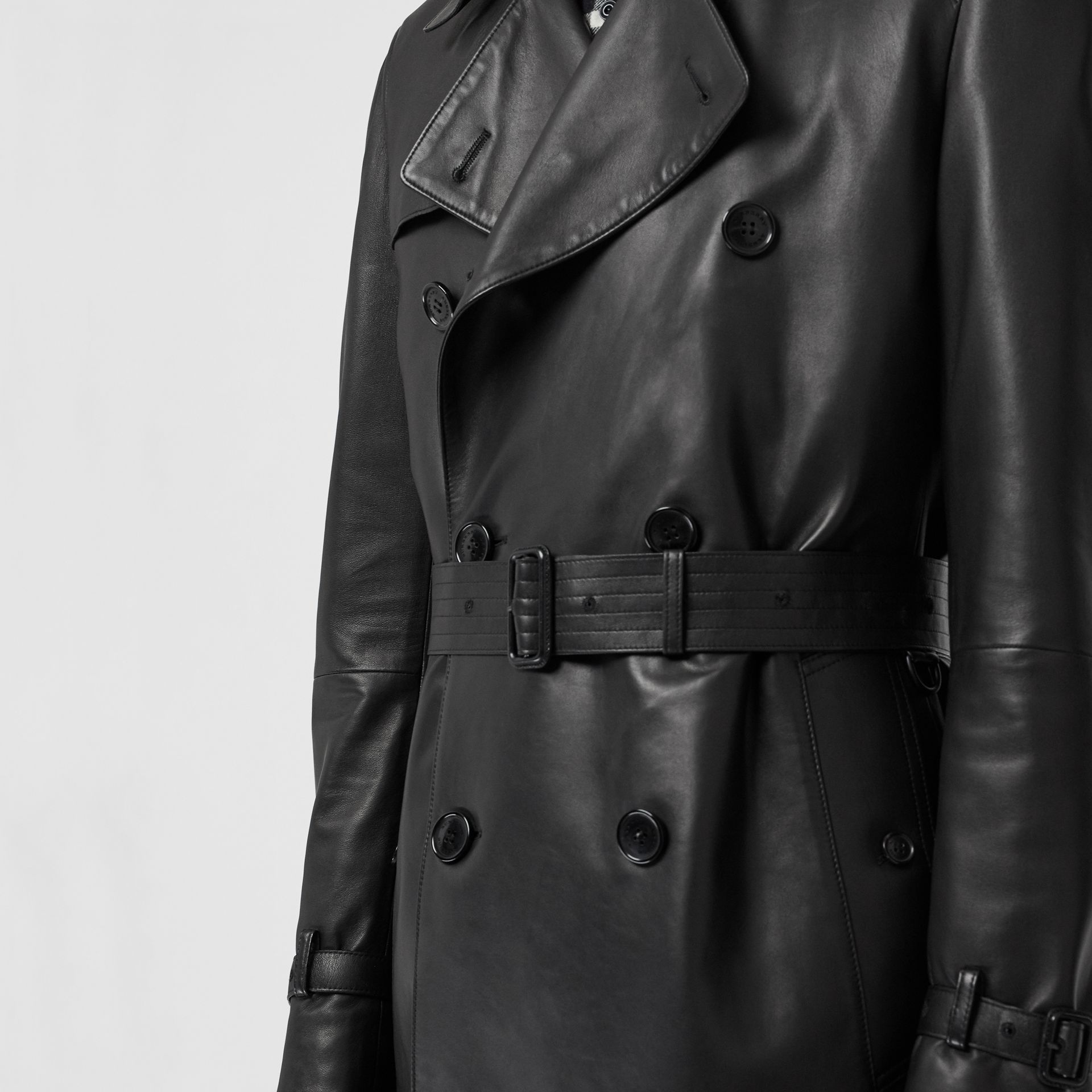 Lambskin Trench Coat in Black - Men | Burberry United Kingdom - gallery image 4