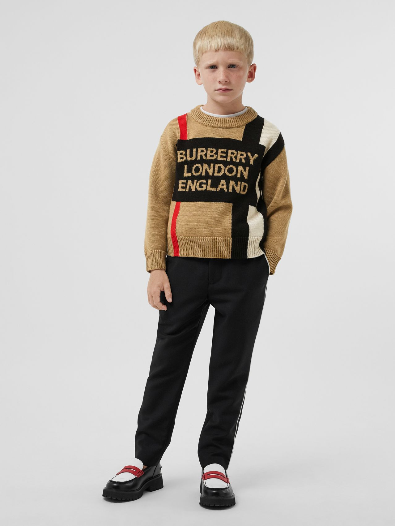 Logo and Icon Stripe Intarsia Wool Sweater in Archive Beige