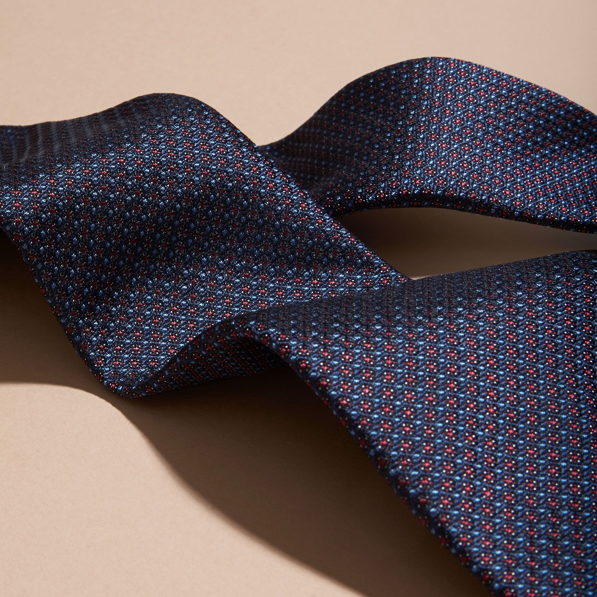 Navy Modern Cut Patterned Silk Tie Navy - gallery image 2