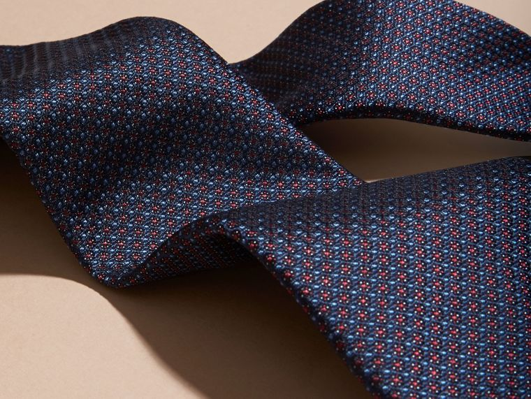 Navy Modern Cut Patterned Silk Tie Navy - cell image 1
