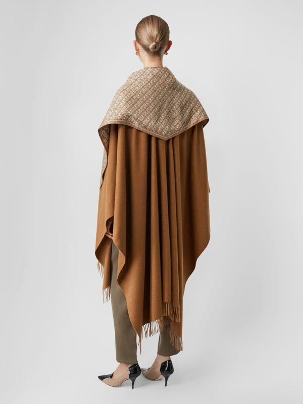 Detachable Monogram Print Scarf Cashmere Cape in Fern - Women | Burberry - cell image 2