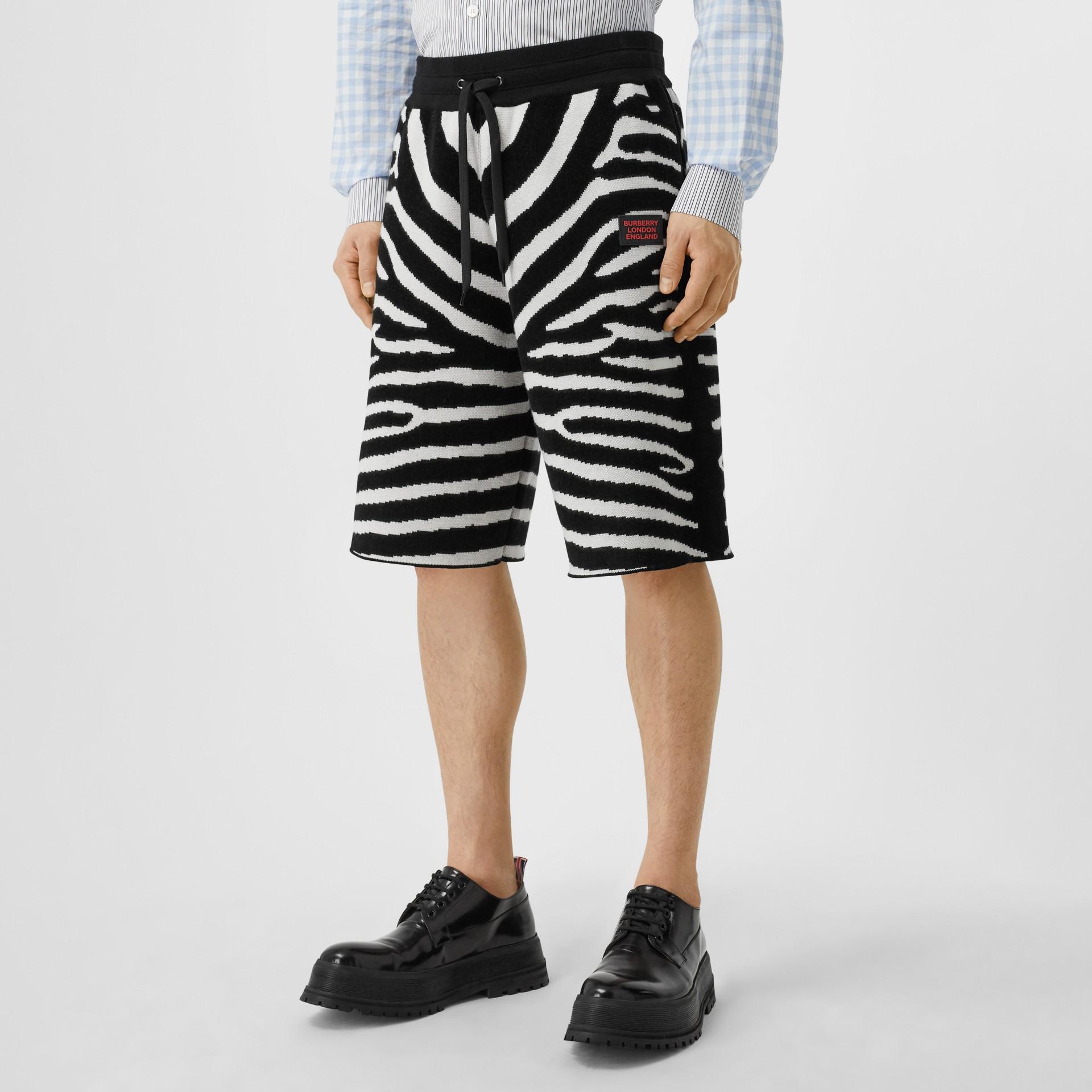 Zebra Wool Blend Jacquard Drawcord Shorts in Black | Burberry United Kingdom - gallery image 4