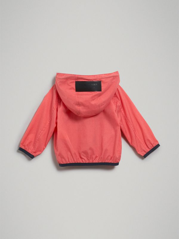 Showerproof Hooded Jacket in Bright Coral Pink - Children | Burberry - cell image 3