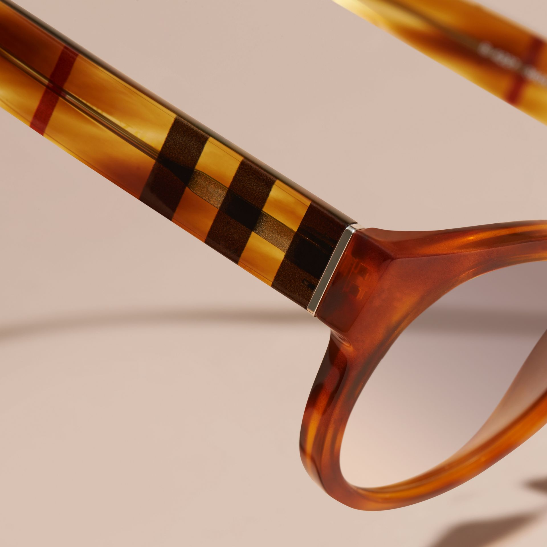 Check and Camouflage Detail Round Frame Sunglasses in Light Russet Brown - Women | Burberry Australia - gallery image 2