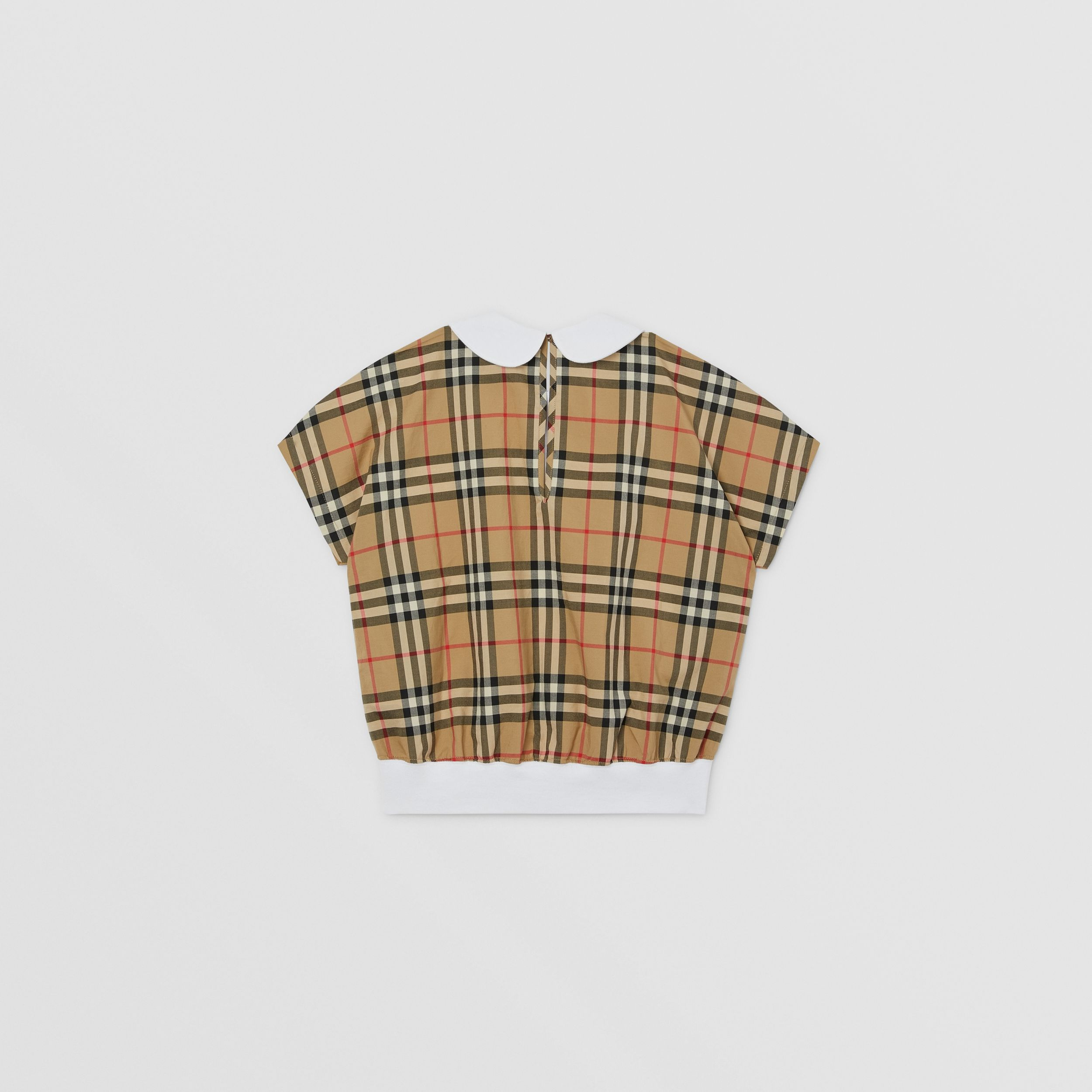 Monogram Motif Vintage Check Panel Cotton T-shirt in Archive Beige | Burberry - 4
