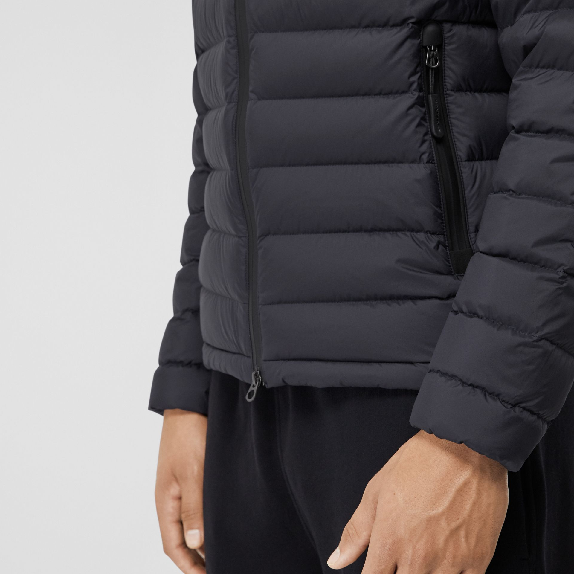 Logo Graphic Lightweight Puffer Jacket in Navy - Men | Burberry - gallery image 4