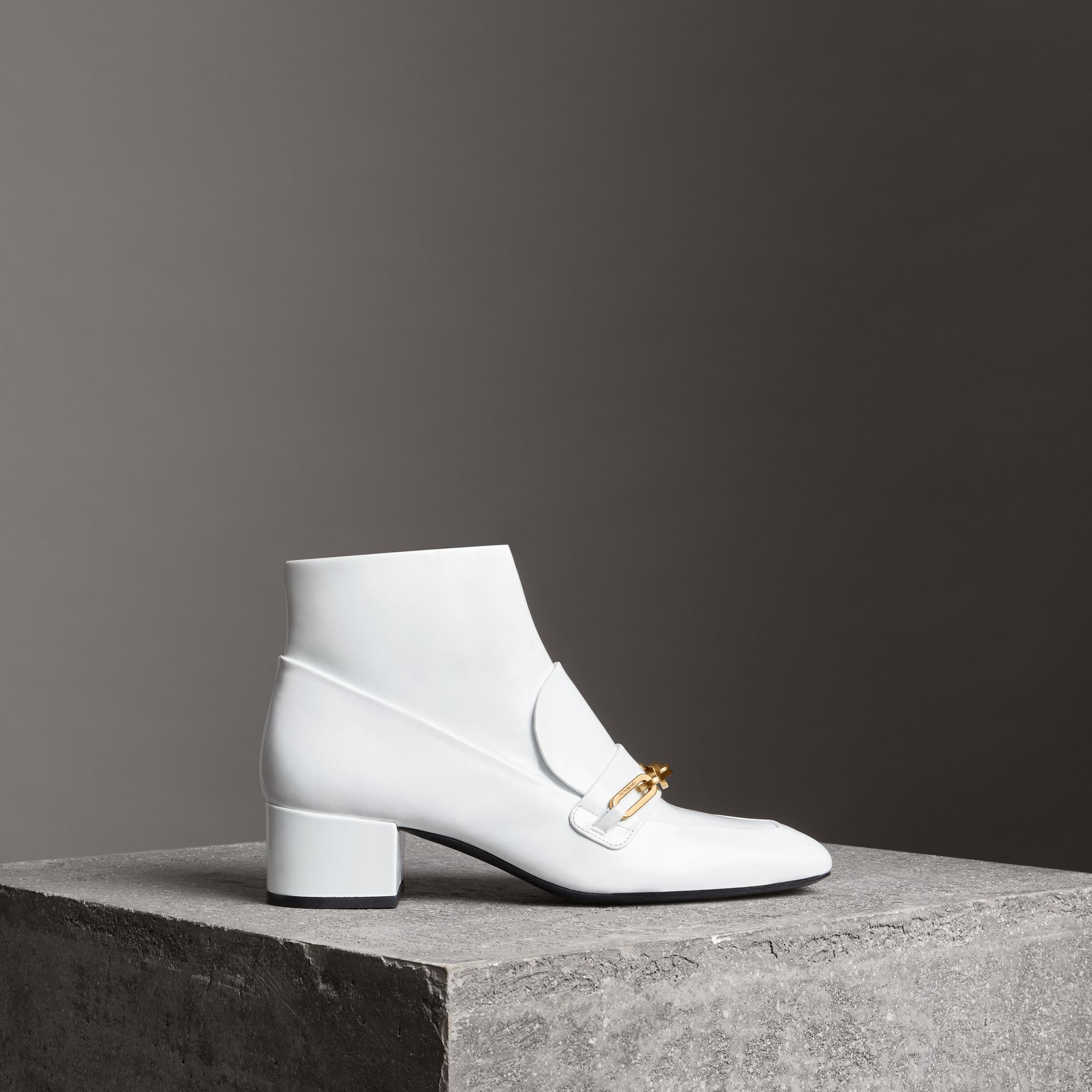 Link Detail Patent Leather Ankle Boots in Optic White - Women | Burberry Australia - gallery image 0