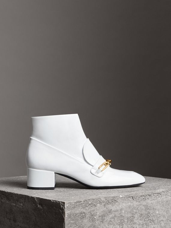 Link Detail Patent Leather Ankle Boots in Optic White