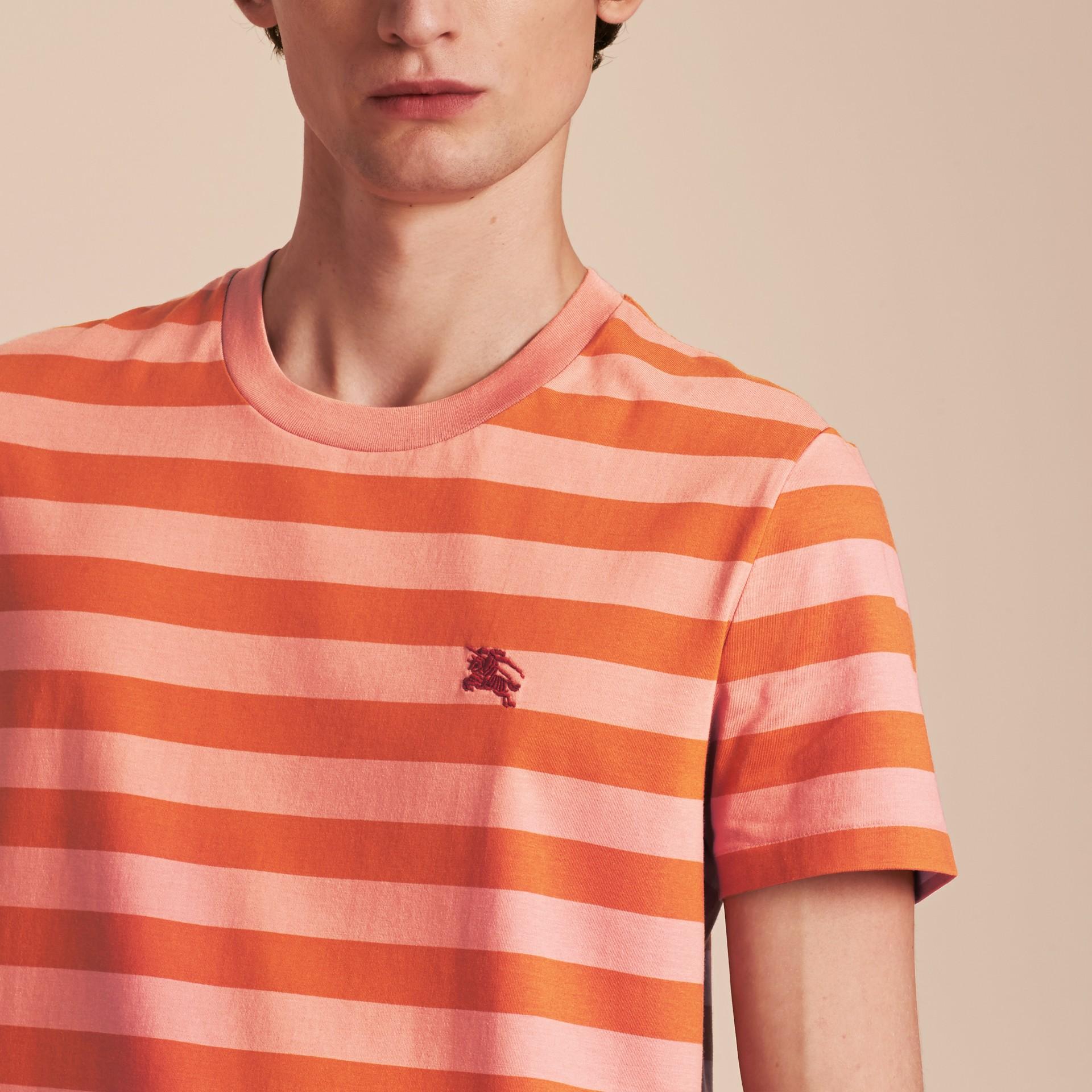 Striped Cotton T-Shirt Orange/rose Pink - gallery image 5