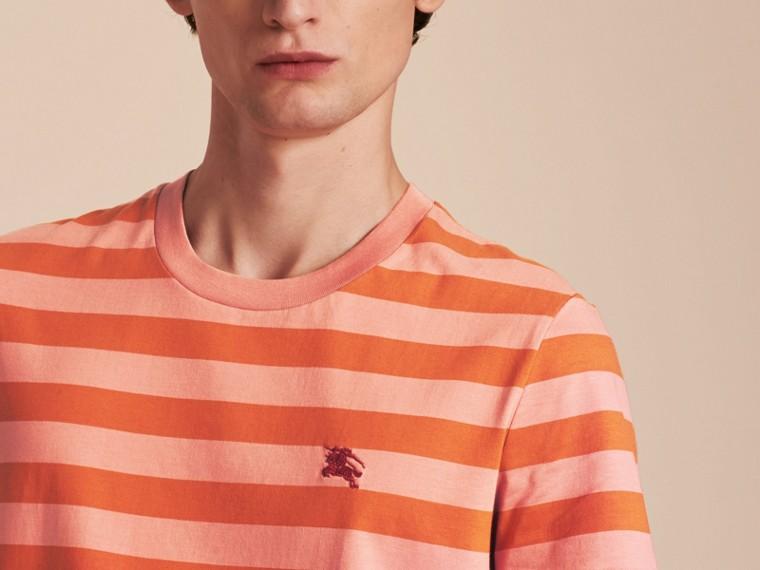 Striped Cotton T-Shirt Orange/rose Pink - cell image 4