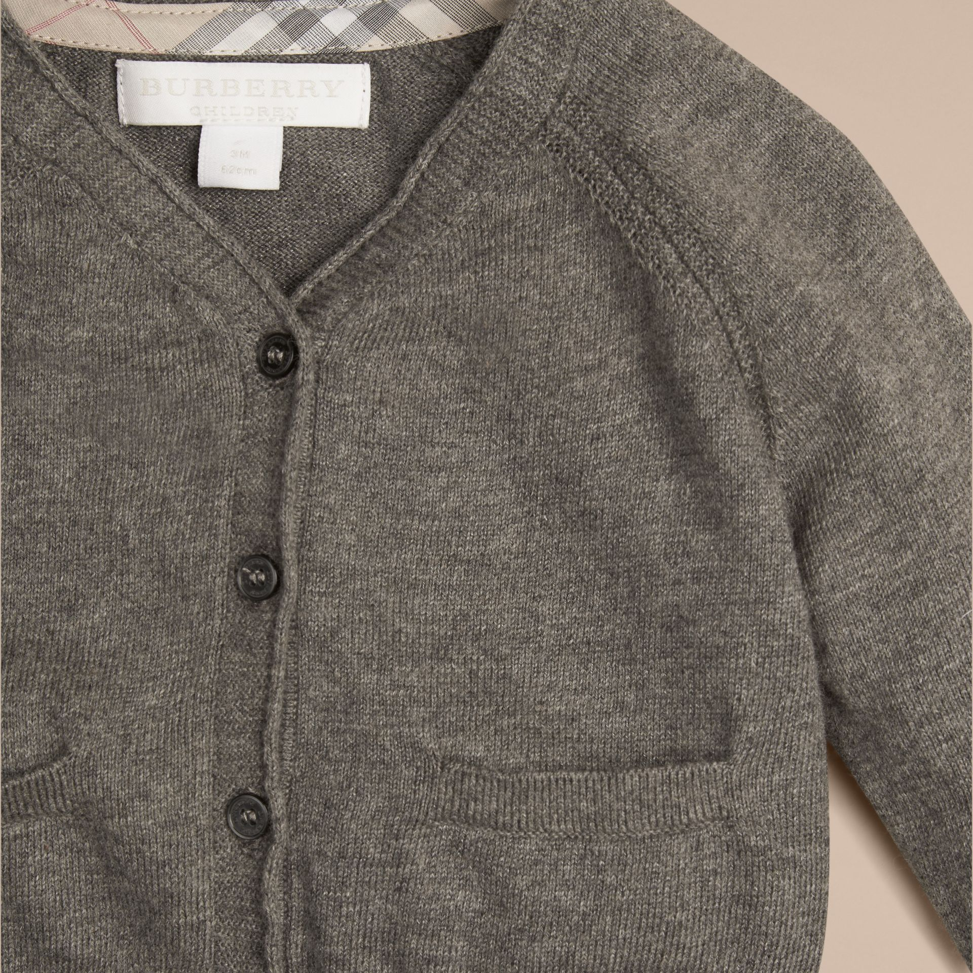 Classic Cotton Cardigan in Mid Grey Melange | Burberry - gallery image 2