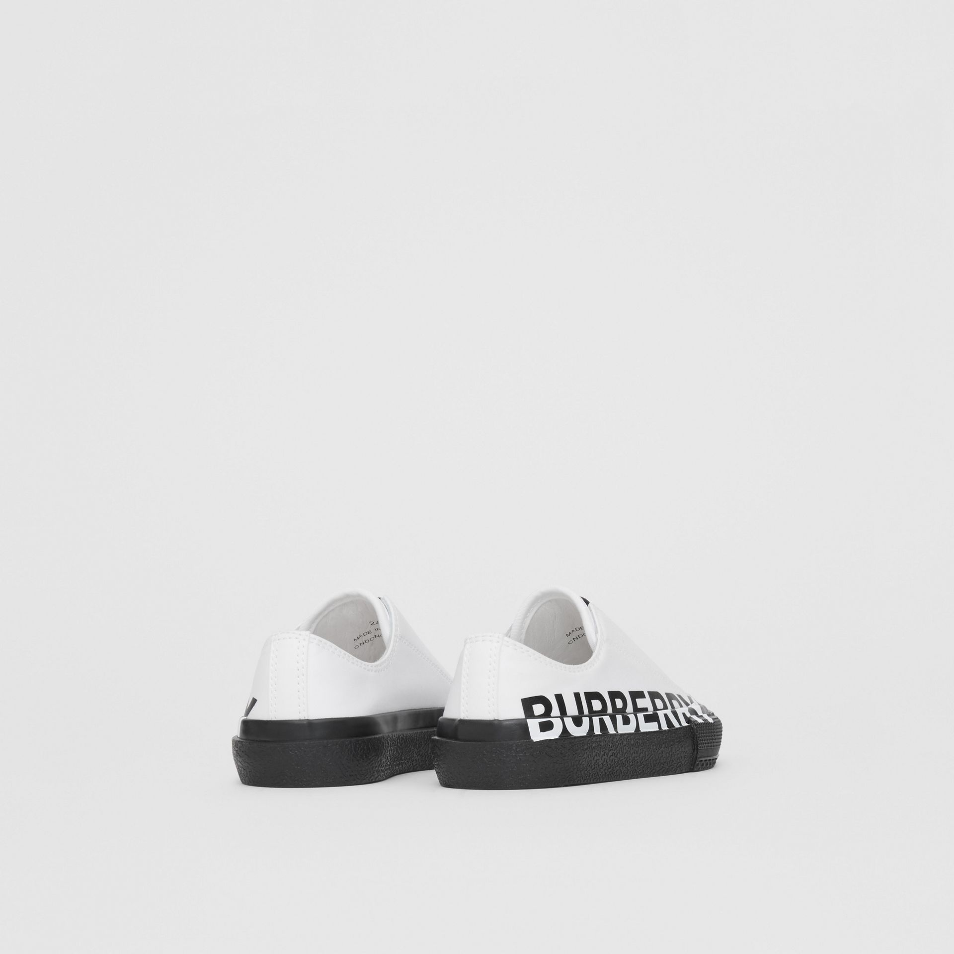 Logo Print Two-tone Cotton Gabardine Slip-on Sneakers in Optic White/black - Children | Burberry - gallery image 2