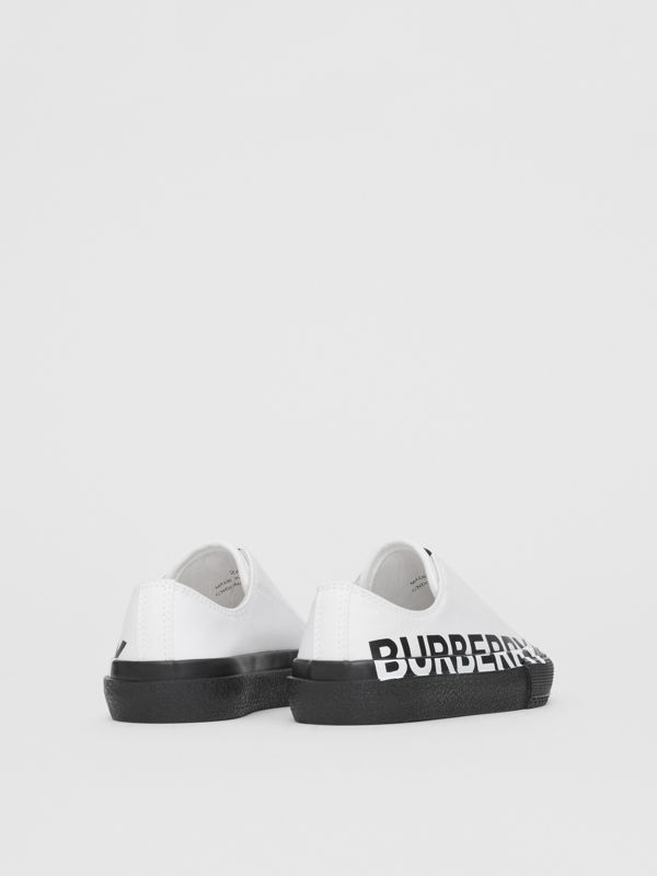Logo Print Two-tone Cotton Gabardine Slip-on Sneakers in Optic White/black - Children | Burberry - cell image 2