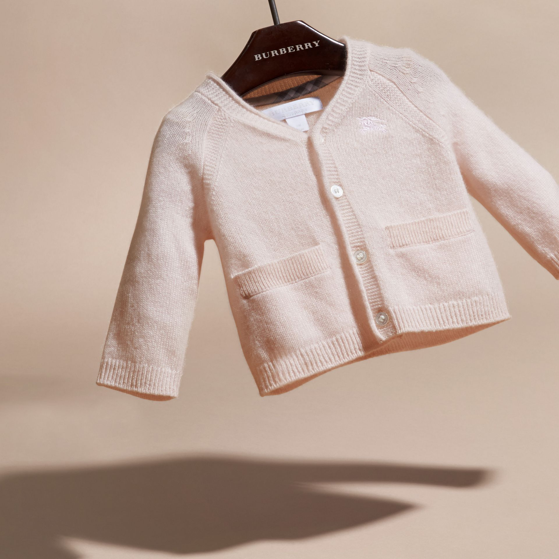 Classic Cashmere Cardigan in Powder Pink | Burberry - gallery image 3