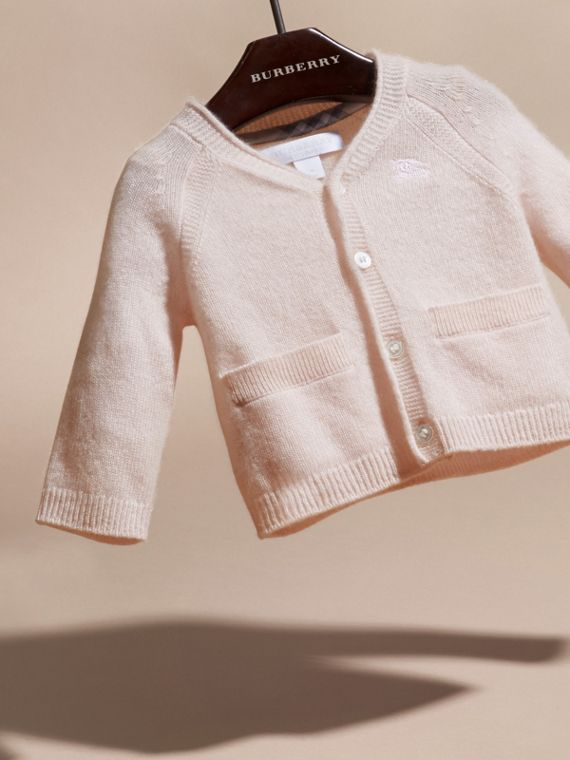 Classic Cashmere Cardigan in Powder Pink | Burberry Australia - cell image 2