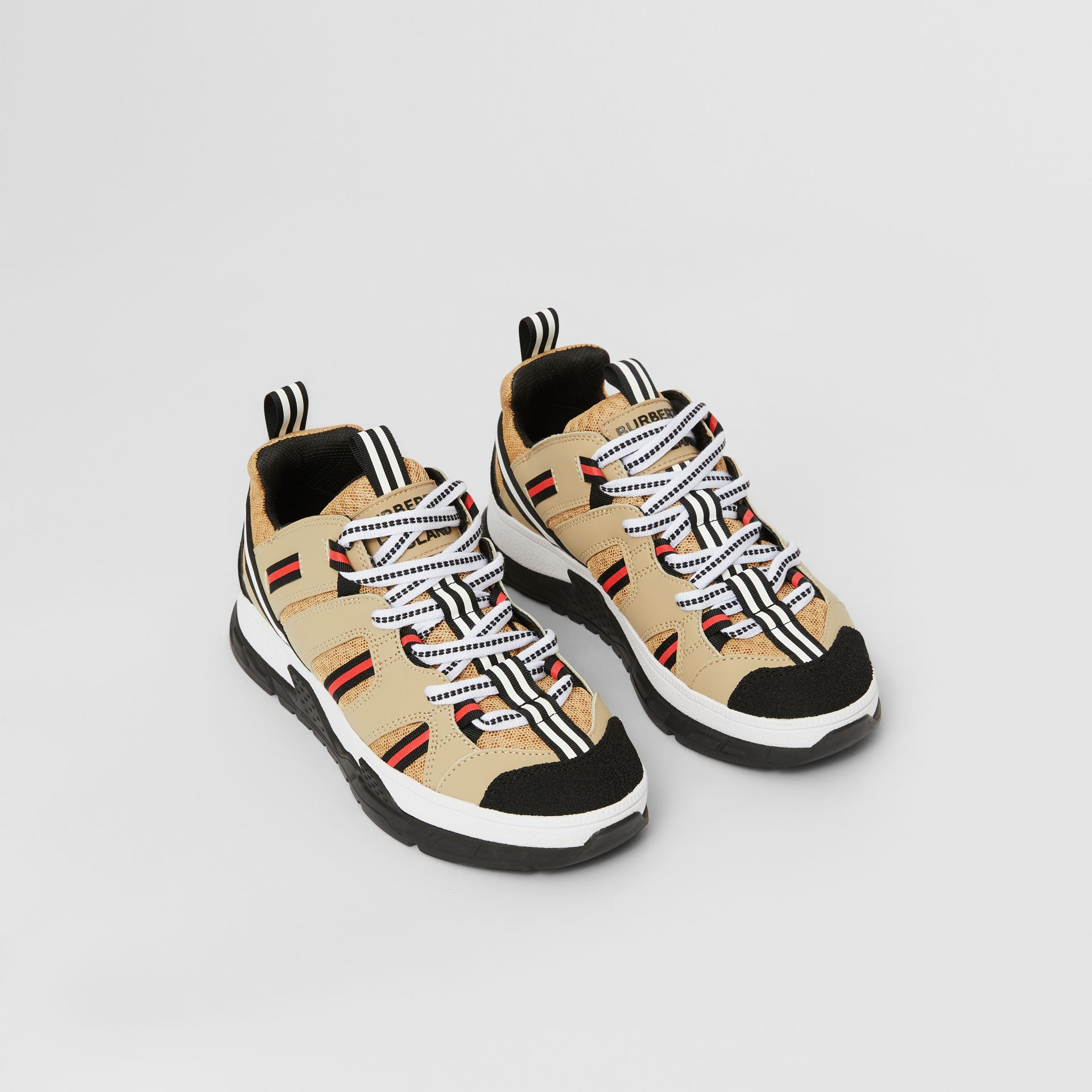 Nubuck and Mesh Union Sneakers in Archive Beige - Children | Burberry Singapore - gallery image 0