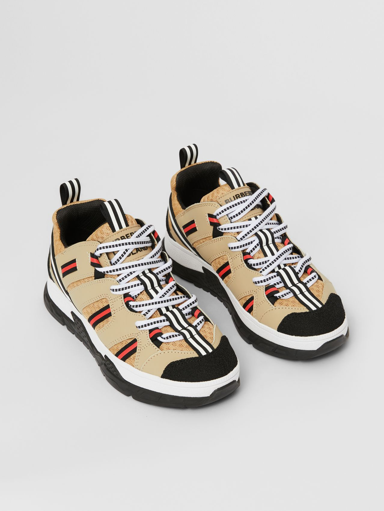 Nubuck and Mesh Union Sneakers in Archive Beige