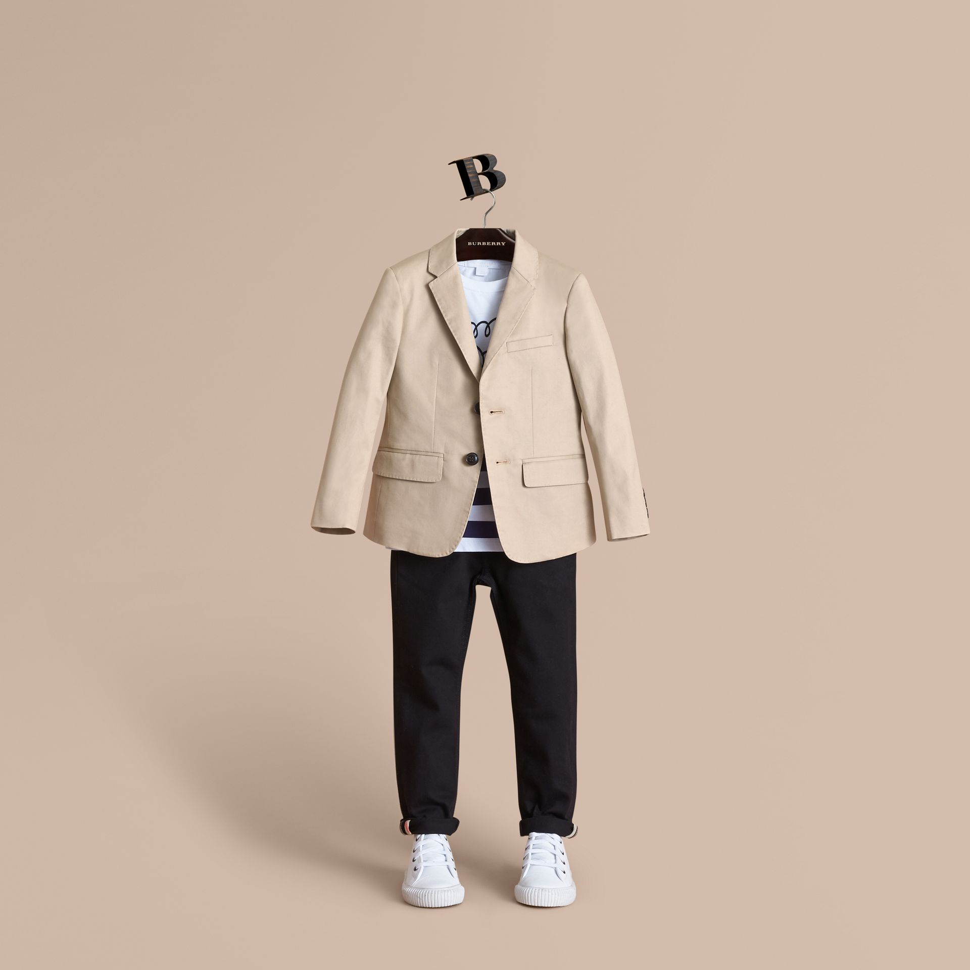 Tailored Stretch Cotton Blazer in Stone - Boy | Burberry - gallery image 1