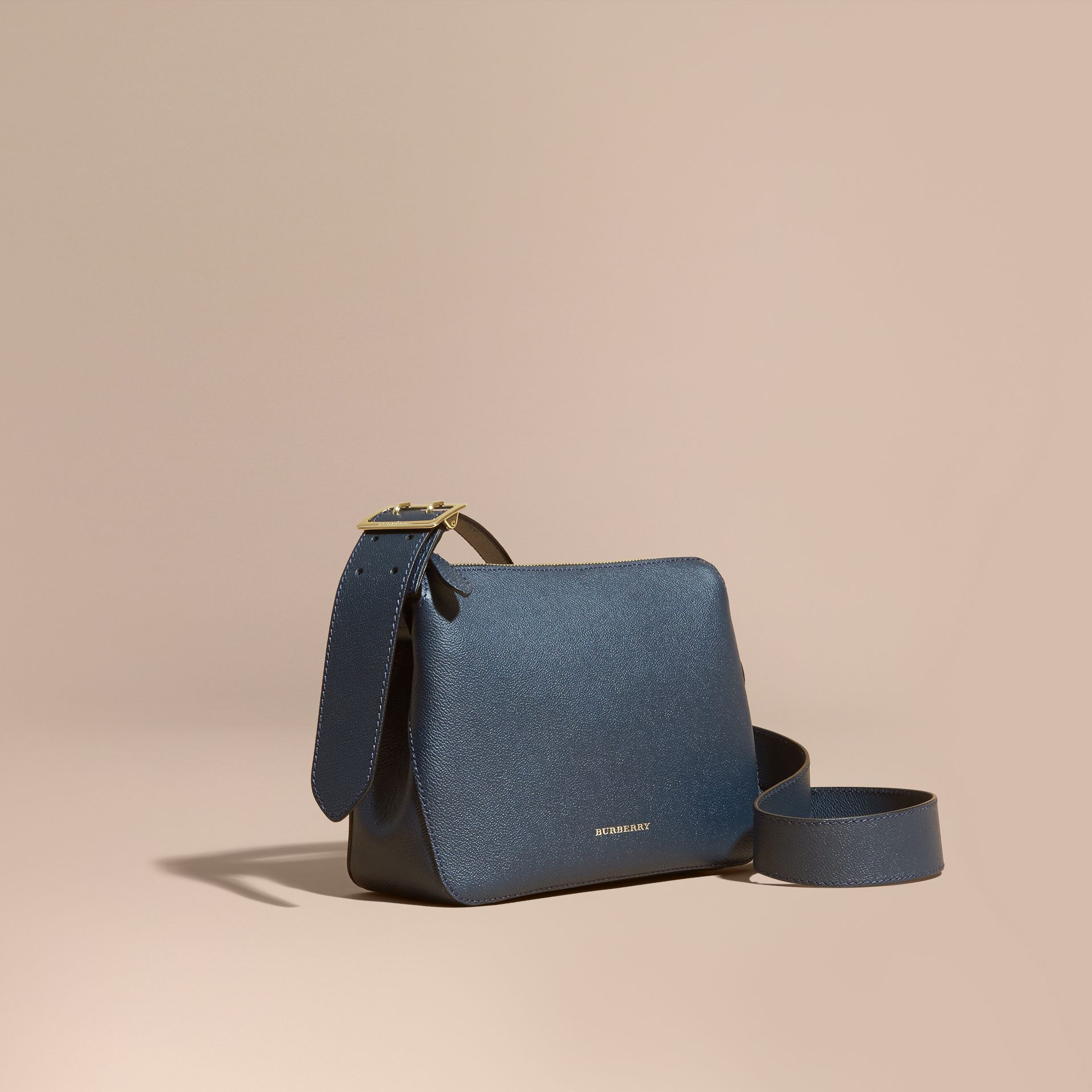 Buckle Detail Leather Crossbody Bag in Blue Carbon - gallery image 1