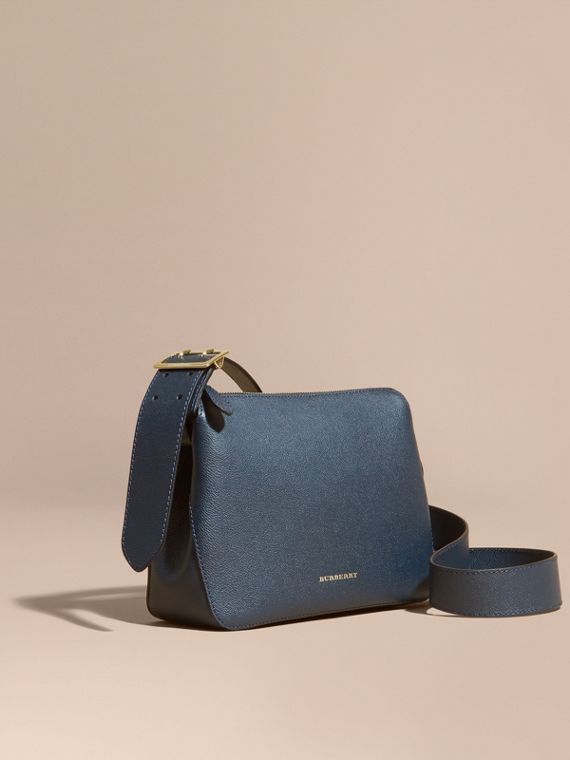 Buckle Detail Leather Crossbody Bag Blue Carbon