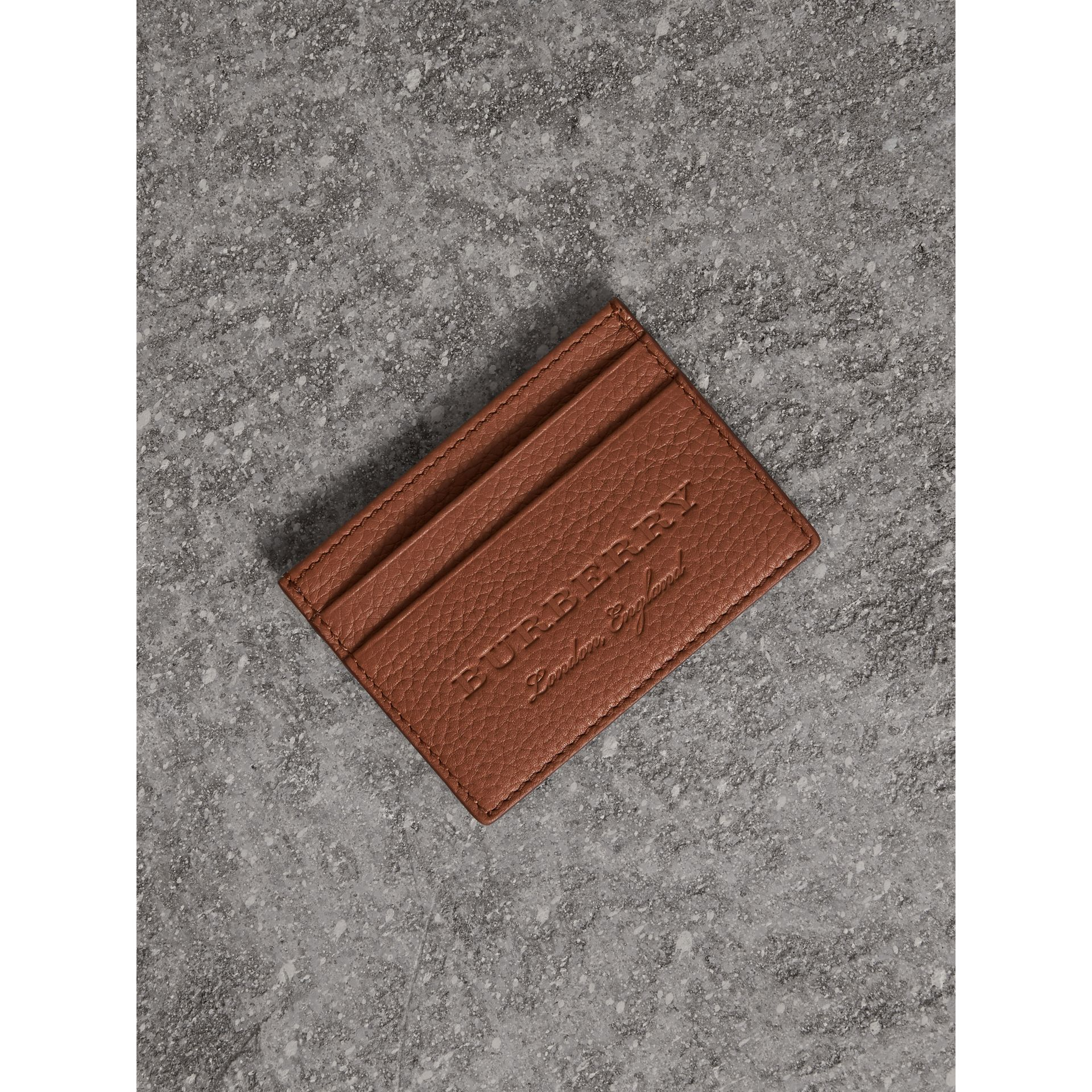 Textured Leather Card Case in Chestnut Brown | Burberry United Kingdom - gallery image 0