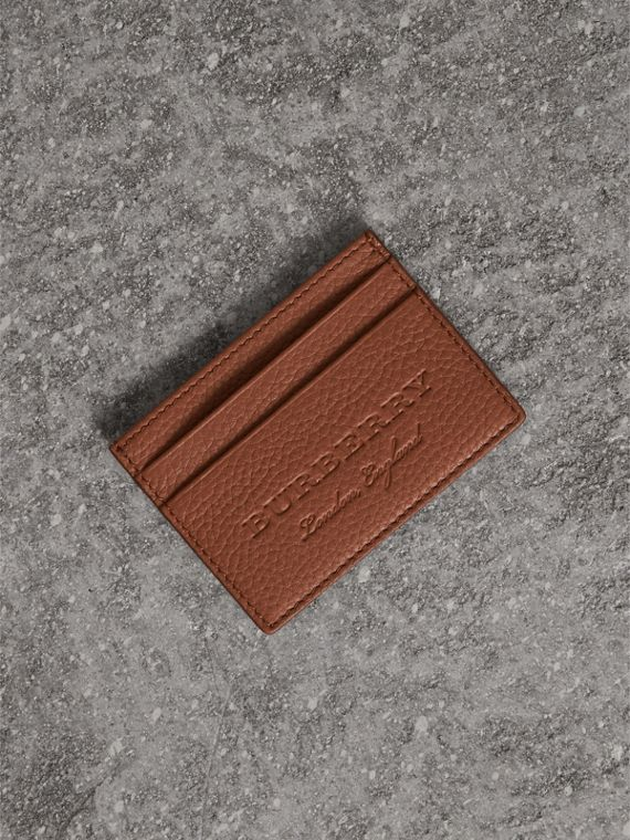 Textured Leather Card Case in Chestnut Brown - Men | Burberry Canada