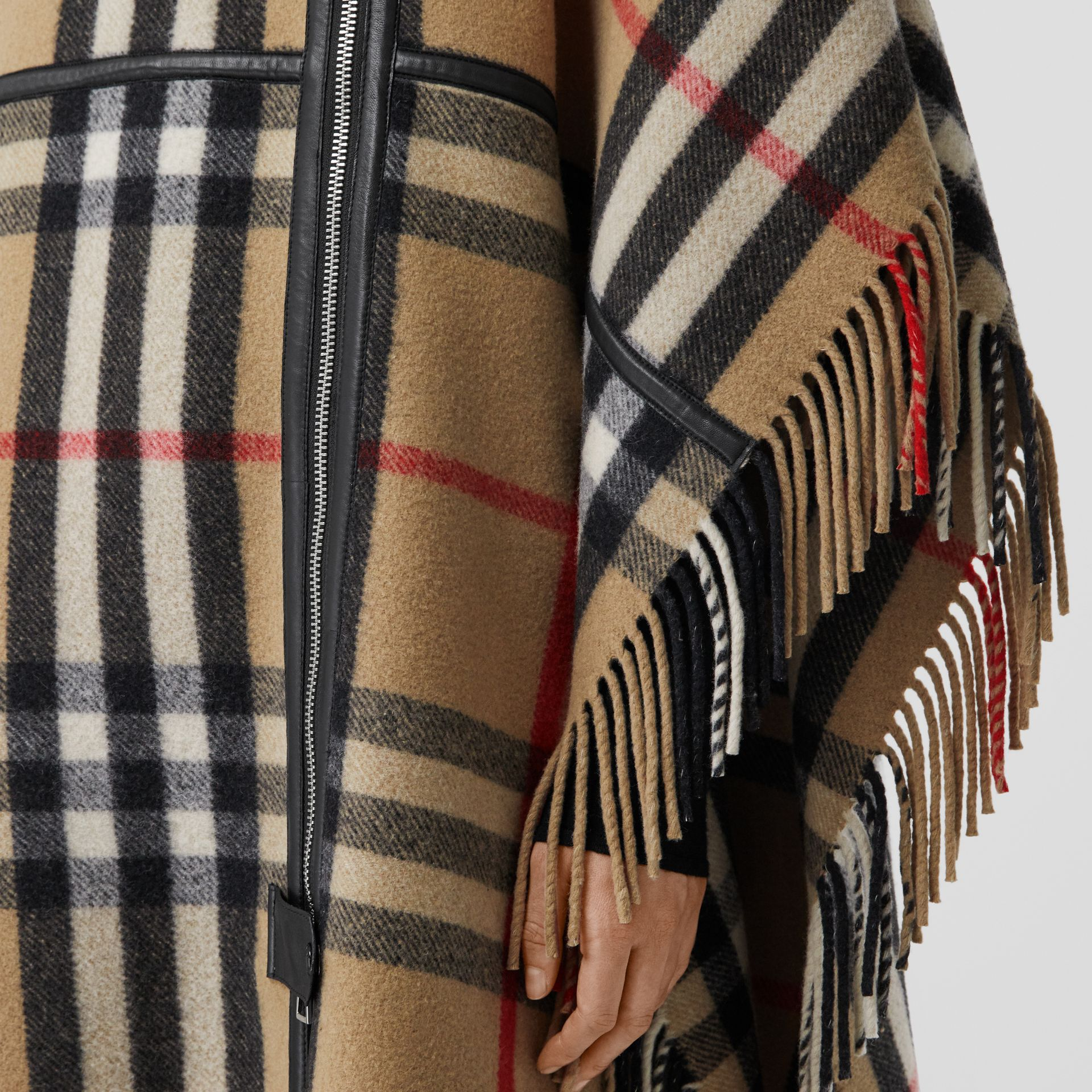 Check Wool Blend Zip-front Cape in Archive Beige | Burberry Australia - gallery image 9