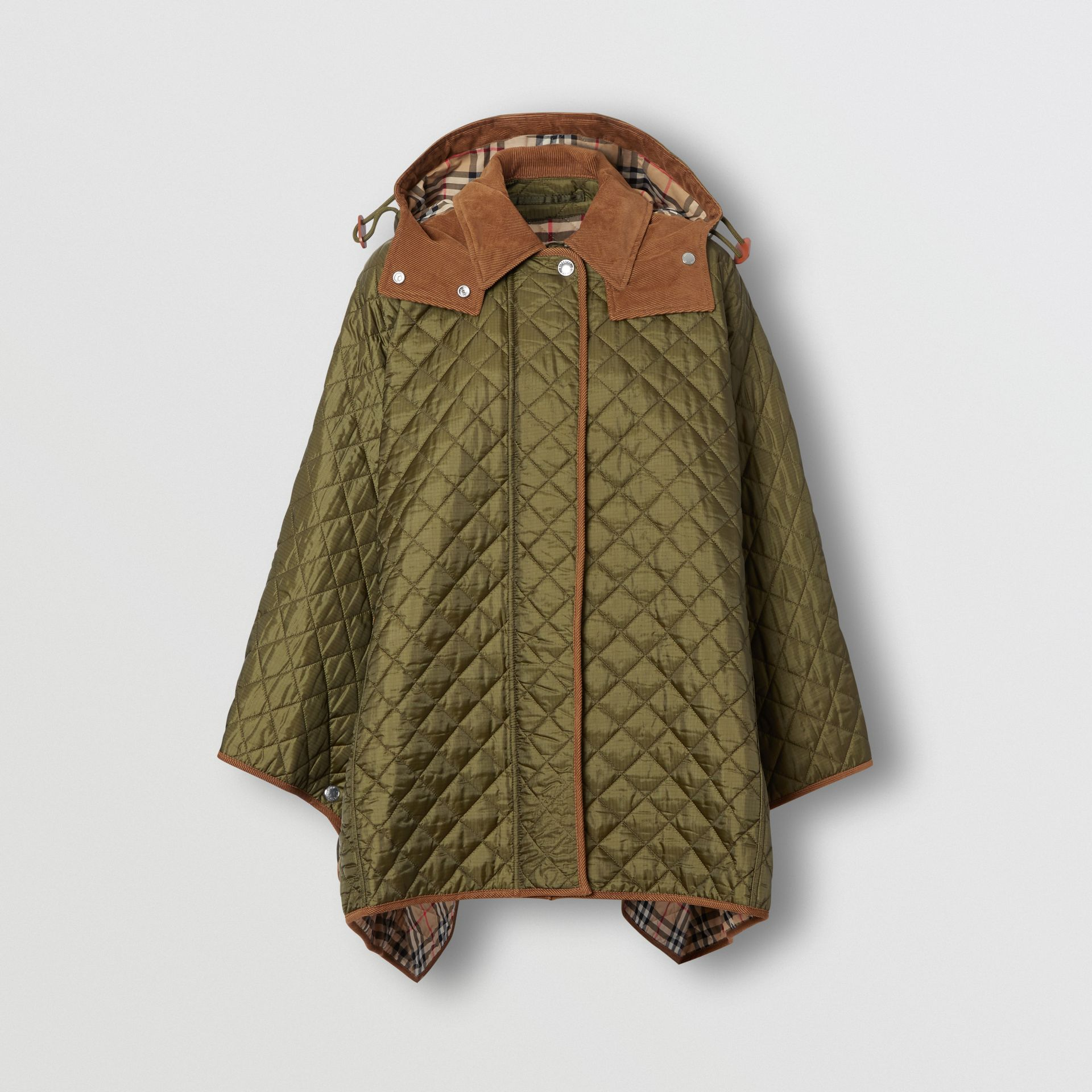Corduroy Trim Quilted Hooded Cape in Military Olive - Women   Burberry United States - gallery image 3