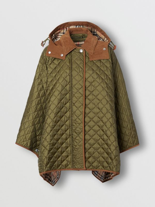 Corduroy Trim Quilted Hooded Cape in Military Olive - Women   Burberry United States - cell image 3