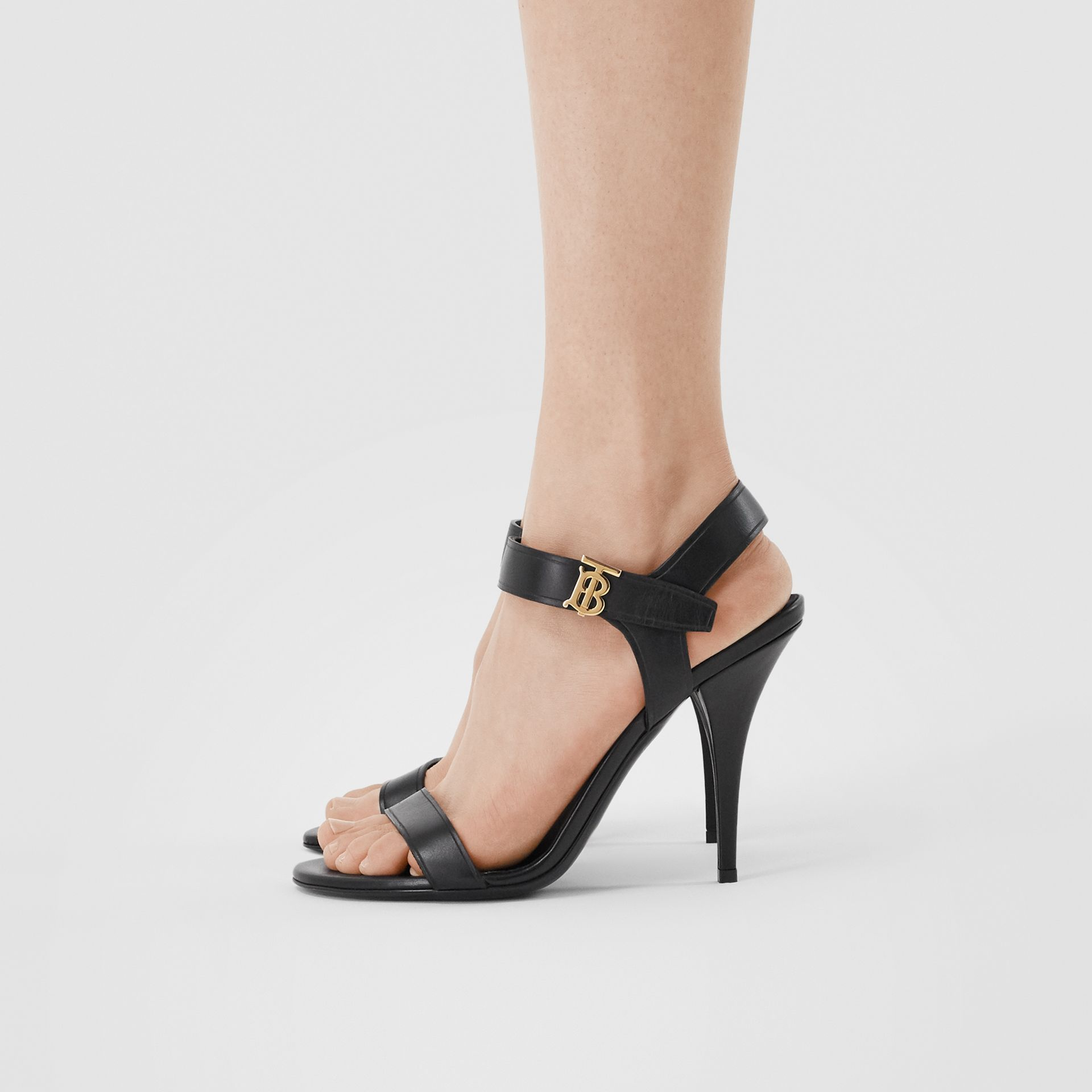 Monogram Motif Leather Sandals in Black - Women | Burberry United Kingdom - gallery image 2