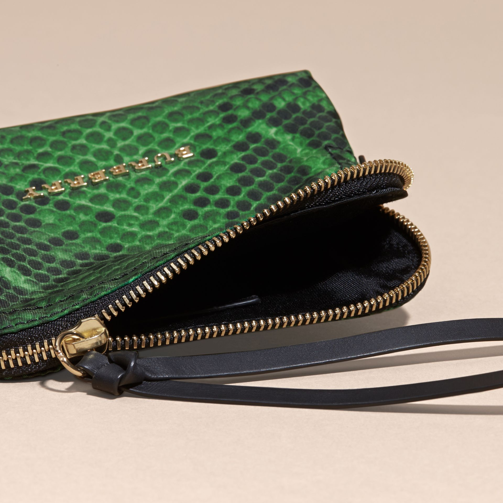 Small Zip-top Python-print Technical Nylon Pouch in Bright Green - gallery image 5